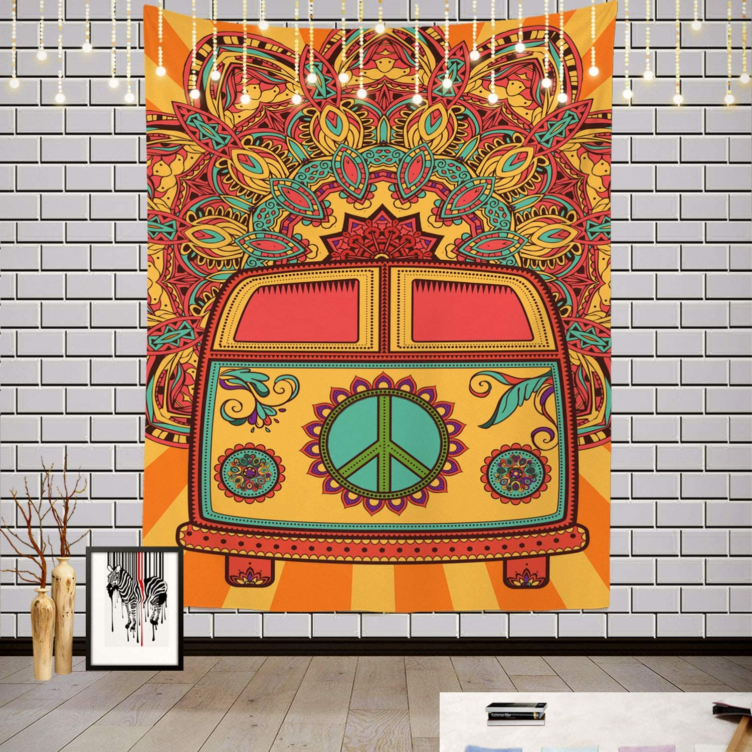 Batmerry Hippie Vintage Car Love Tapestry, Flower Power Retro Peace Love Hippie Symbols Picnic Mat Hippie Trippy Tapestry Wall Art Decor for Bedroom Living Room, 82.7 x 59.1 Inches, Floral 1