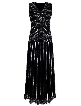 PrettyGuide Frauen 1920S Pailletten Maxi Lang Schwarz Gatsby Kleid Nacht,  Silber, D2238GM M