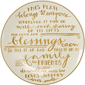 Primitives By Kathy Giving Plate Blessings 12 in Platter Cream with Gold Writing