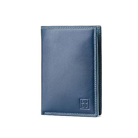 d138a1cc32 Portafoglio da uomo a libro in pelle multicolore con lampo DUDU Blu ...