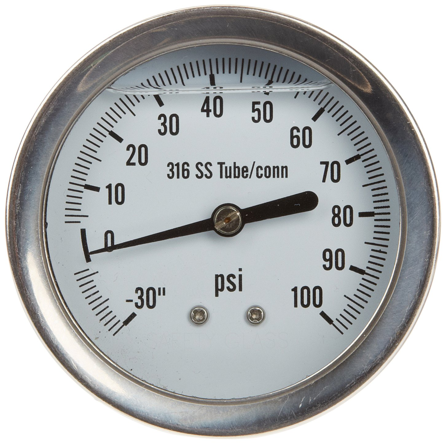 PIC Gauge 312L-254CE-SIL Stainless Steel Case Silicone Filled 1/4 Lower Back Mount Pressure Gauge 316SS Internals Welded Connection 2.5' Dial Size 30/0/100 psi Range' Precision Instrument Company