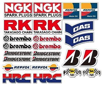 Ti El Es 24 Pvc Aufkleber Set Motorsport Rennsport Motorrad Auto Racing Laminiert Sticker Moto Gp Sponsors