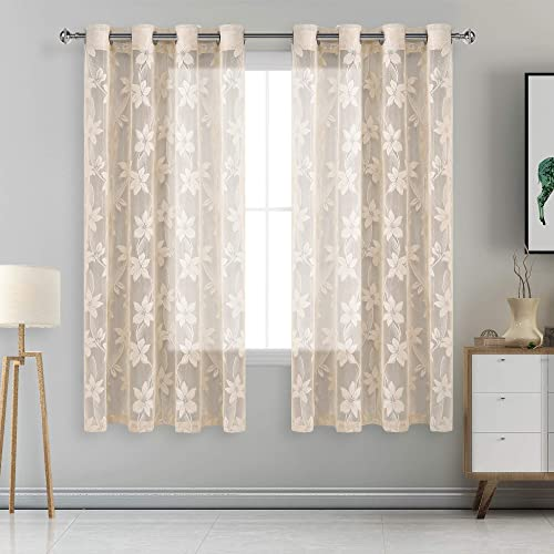 DWCN Floral Lace Sheer Curtains – Grommet Window Voile Sheer Drapes for Bedroom Kitchen Short Curtains 52 x 63 inch Length, Set of 2 Beige Curtain Panels