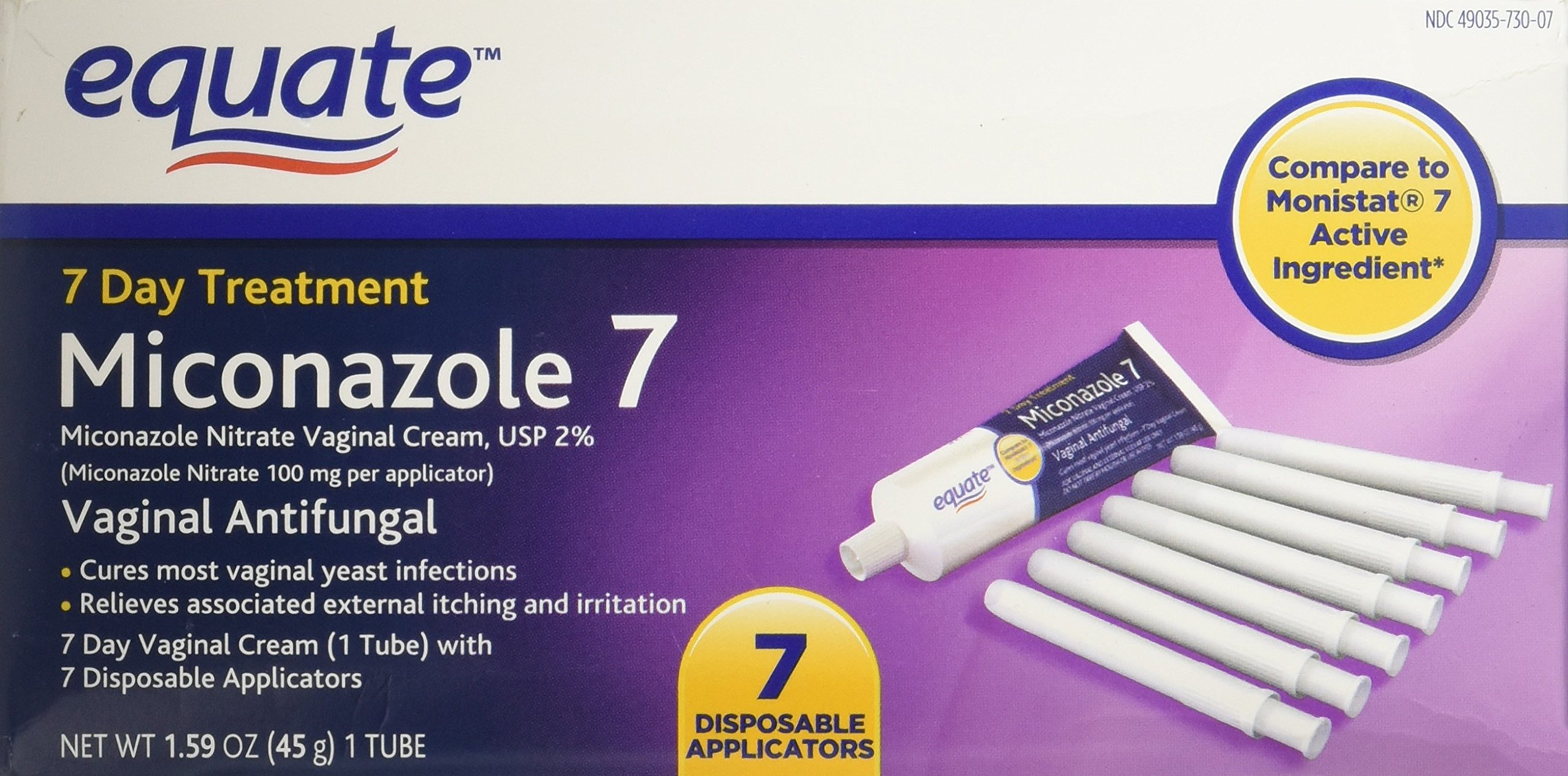 Compare to Monistat 7 Active Ingredient. - Equate - Miconazole 7 Day Treatment, Vaginal Antifungal Cream, 1.59 oz by Suburban (Image #1)