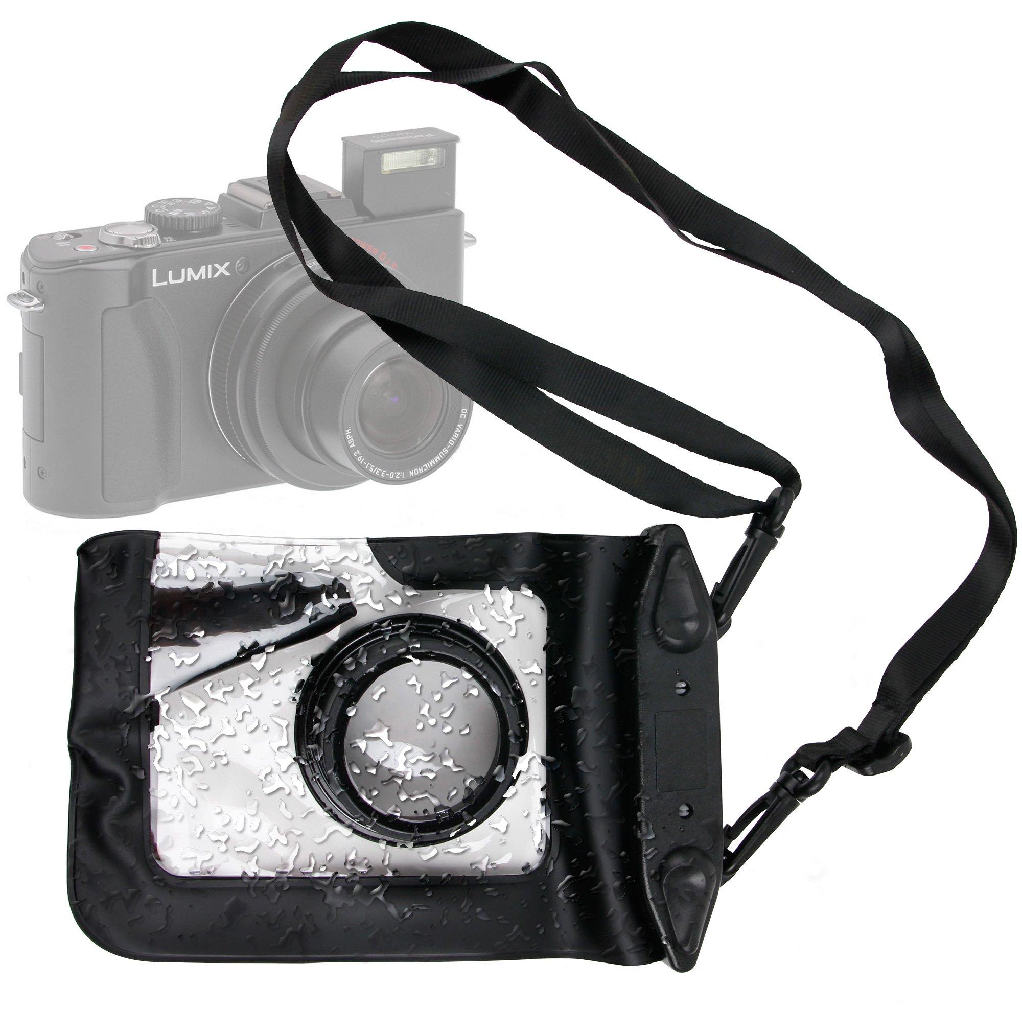 DURAGADGET Compact Camera Case in Black for Panasonic Lumix LX5, FT20, TZ30, DMC-XS1, DMC-F5, DMC-FH10, DMC-TS25 & DMC-Z9 - Premium Quality, Water-Resistant Pouch with Zoom Lens Compartment, Cross-Body Strap & Air-Locked Seals