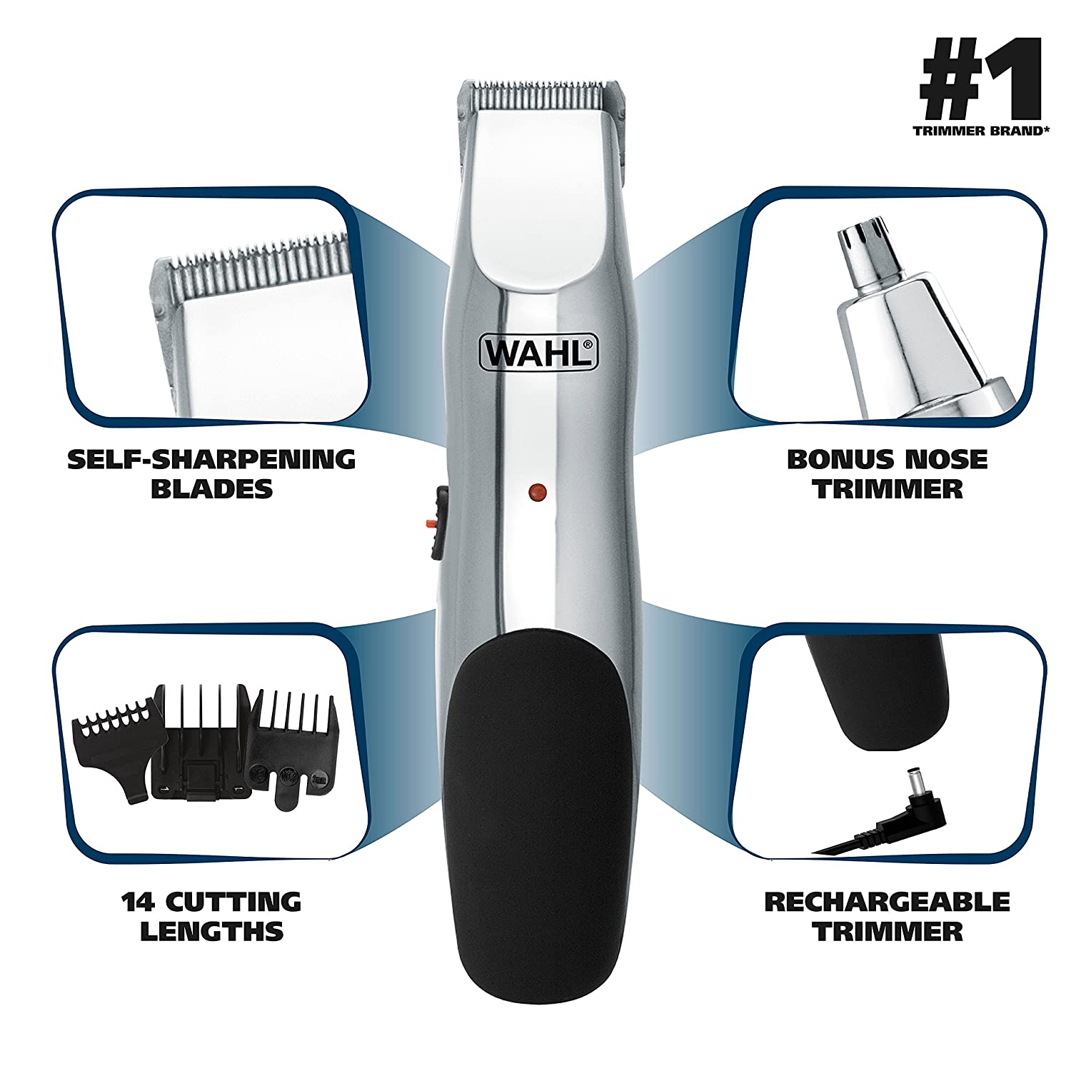 Wahl Groomsman Rechargeable Beard, Mustache, Hair Nose Hair Trimmer for Detailing Grooming – Model 5622