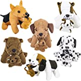 Plush Dogs Holding Puppies (6 Pack) Realistic Looking 7-Inch Cute and Cozy Stuffed Animals - for Birthday Party Favors, Adopt