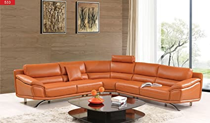 Amazon.com: 533 Italian Leather Sectional Sofa Orange: Kitchen & Dining