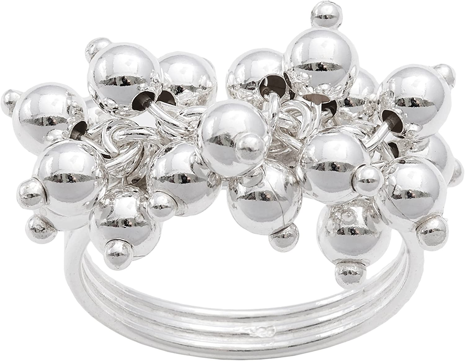 Silverly .925 Sterling Silver Moving Bead Bell Ball Charm Linked Layered Ring