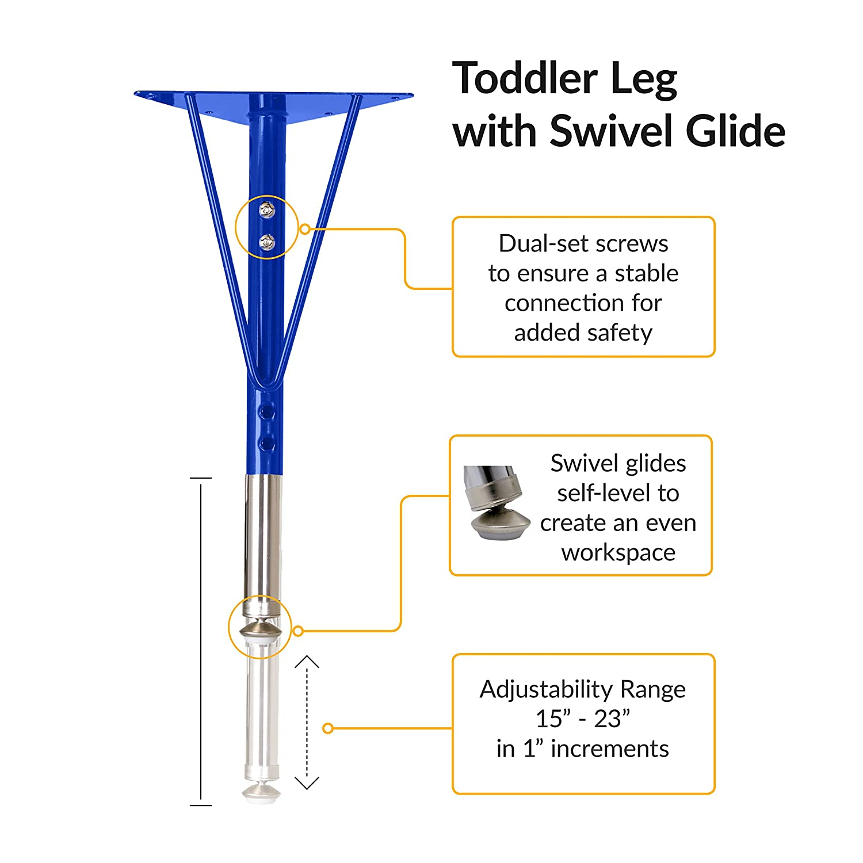 Maple//Blue Adjustable Height 15-23 inch Toddler Legs w// Swivel Glides ECR4Kids Mesa Premium 24 x 48 Trapezoid School Activity Table