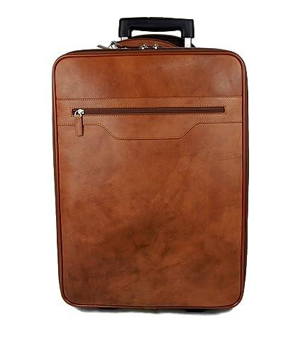 Trolley rígida maleta de cuero bolso de cuero de viaje hombre mujer marron bolso de cabina