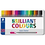 Staedtler Fineline Pen Triplus, 30 Assorted, Brilliant Colours, Tin of 30 (334 M30)