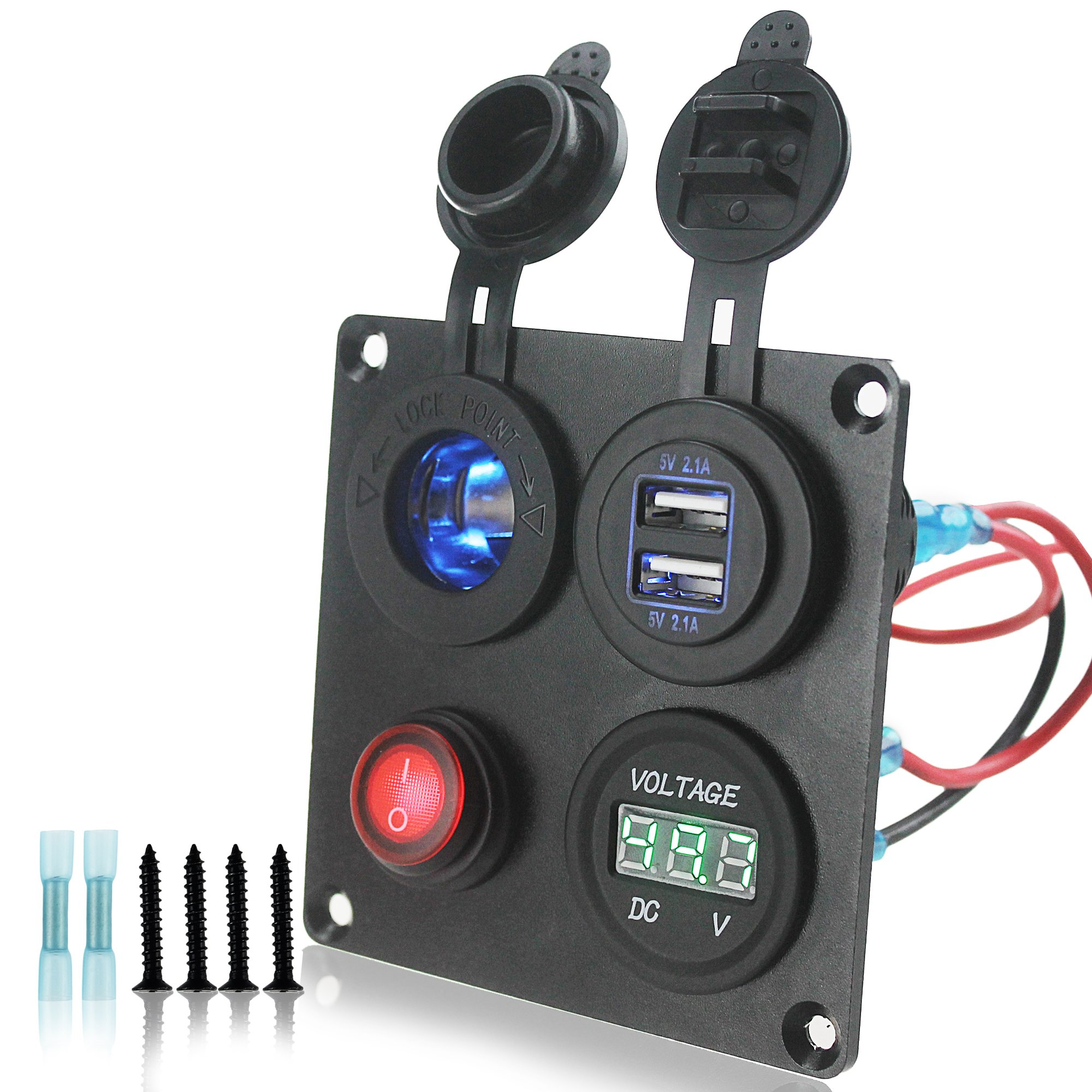 Iztoss 12-24V Green Voltmeter led Cigarette Lighter 4.2 Dual USB Adapter Charger Switch 4 Hole Aluminum Panel Plate Truck Boat Marine Trailer