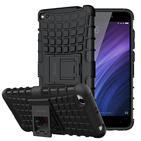 ykooe Funda Xiaomi Redmi 4A, Redmi 4A Teléfono Híbrida de Doble Capa con Soporte Carcasa para Xiaomi Redmi 4A (Negro)