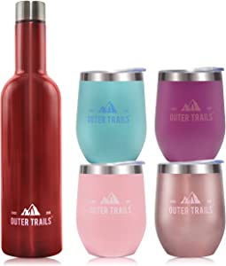 Outer Trails Insulated Vacuum Sealed Double Wall Stainless Steel Wine 25 Ounce Growler Bottle and 4 Cup Party and Gift Set