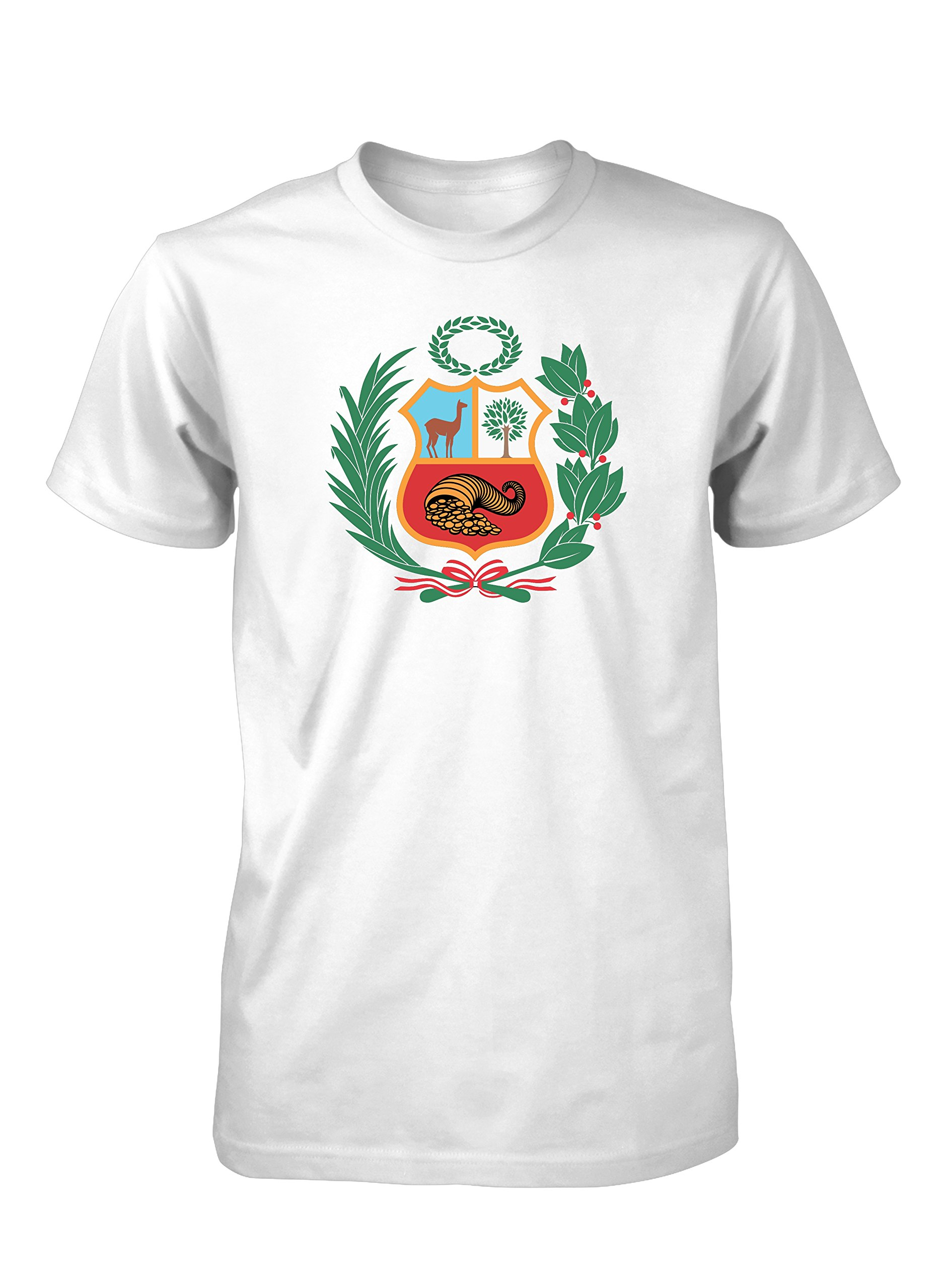 Hot4TShirts Peru Escudo Coat of Arms T-Shirt for Men (M, White (Full Color))