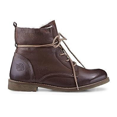 9ab5aafcaec177 Cox Damen Schnürboots - Winter Boots - Schnürstiefel - Glattleder -  gefüttert - robuste Profilsohle - Winterstiefel - Schnürstiefelette braun  Leder 38  COX  ...
