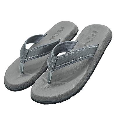 15f11e5e5ab8 Mens Leather Flip Flops Summer Shoes Cushioned Yoga Foam Non Slip Rubber  Sole Nylon Knitted Thong