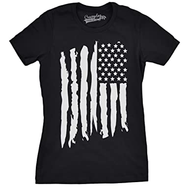 Amazon.com: Womens Vertical Grunge Flag Funny T shirts USA Tees ...