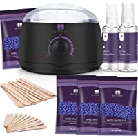 BLITZWAX Waxing Kit Hair Removal Wax Warmer Kit with Sensitive Skin Formula 14oz Lavender Hard Wax Beans for Facial…