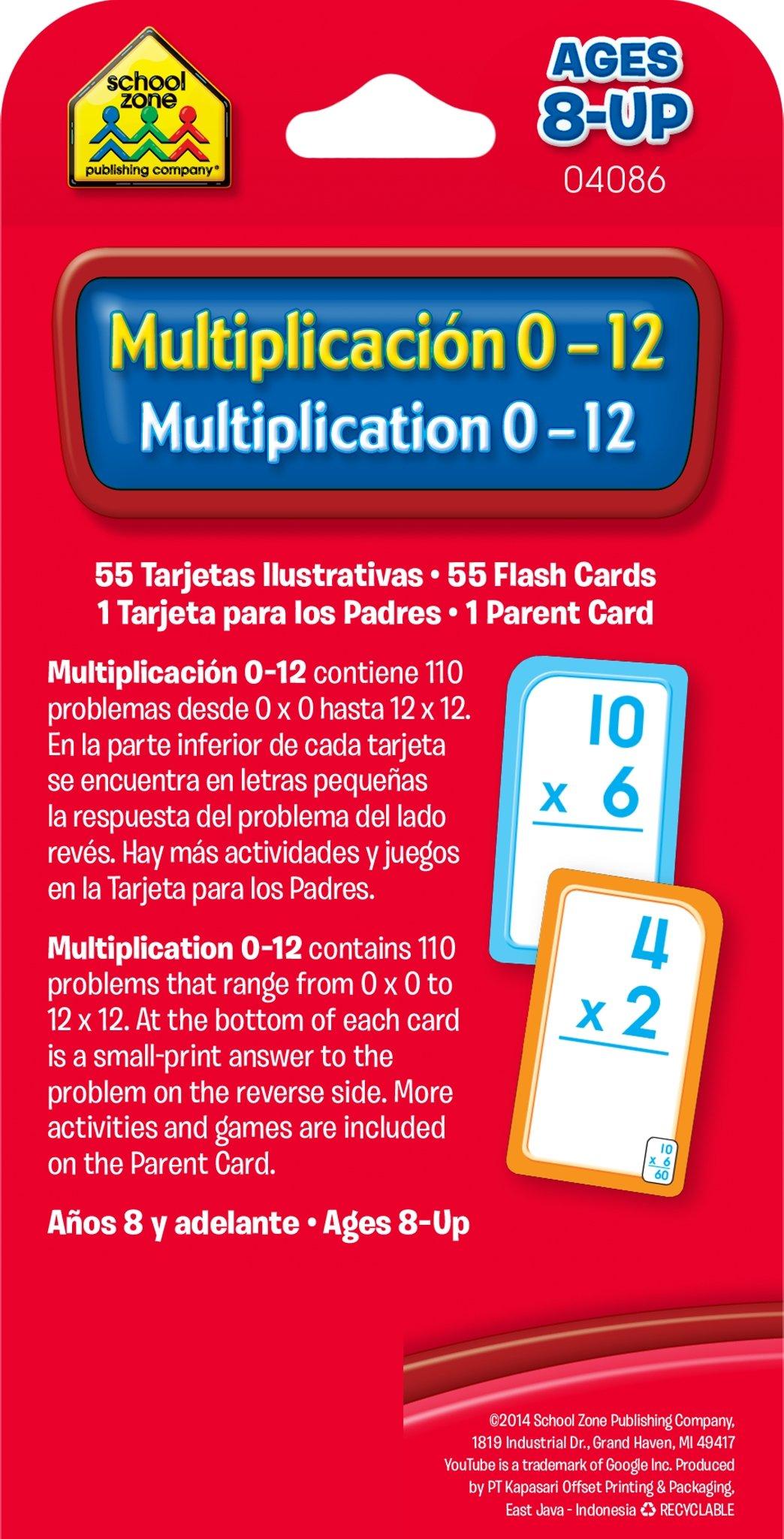 School Zone - Bilingual Multiplication 0-12 Flash Cards ...