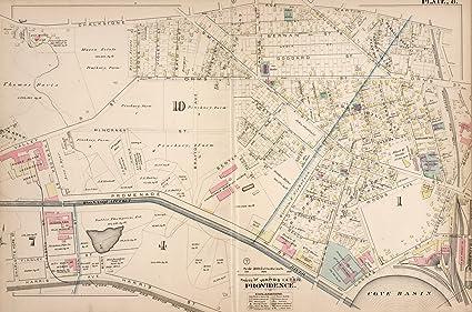 Amazon.com: Providence (R.I.), City Atlas Map, Plate 8. Parts of ...