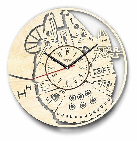 Halcón Milenario Star Wars reloj de pared de madera – perfecto y muy bien corte –