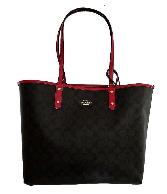 640756929254d ... sweden amazon coach signature reversible pvc city large tote bag handbag  brown red shoes b8534 2dc91
