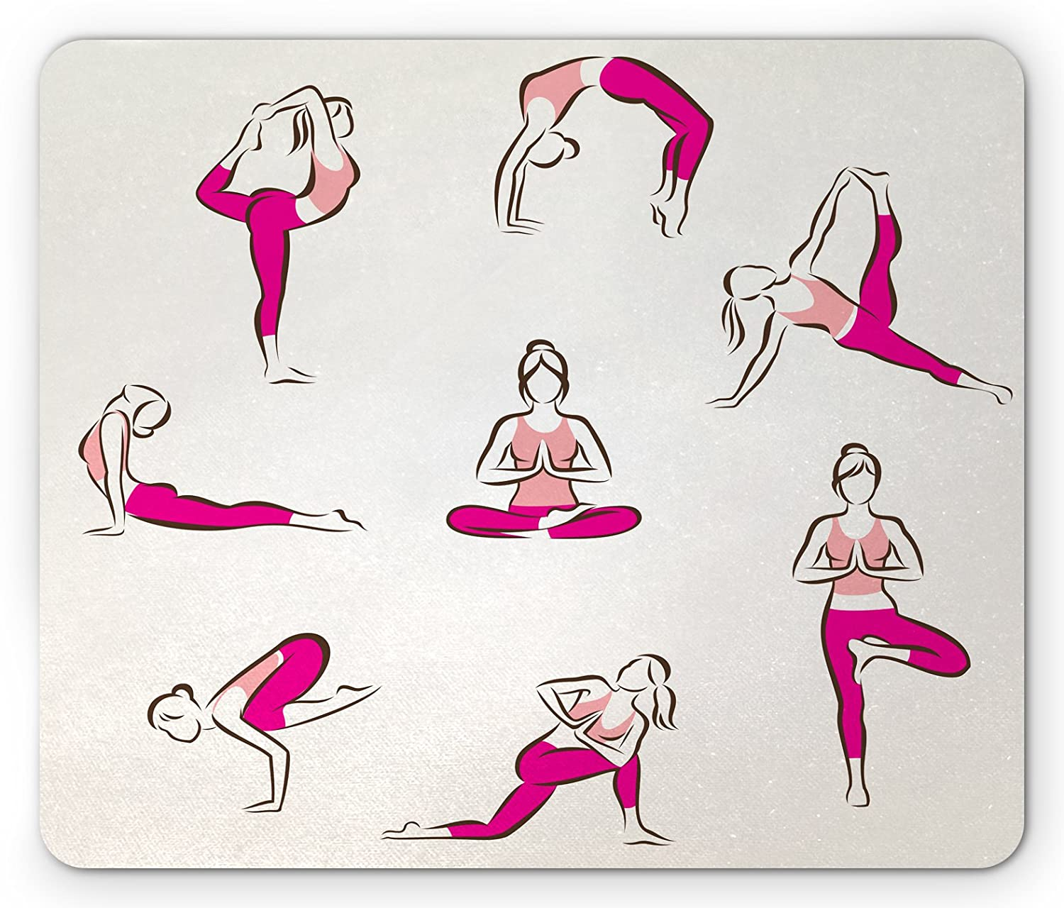 Amazon.com: Ambesonne Yoga Mouse Pad, Yoga and Pilates Poses ...