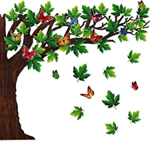 60 Pieces Big Tree Bulletin Board Set with Leaves and Butterflies, Woodland Whimsy Decor 70 x 55 Inch with 180 Pieces Removable Glue Point Dots for Classroom Decoration