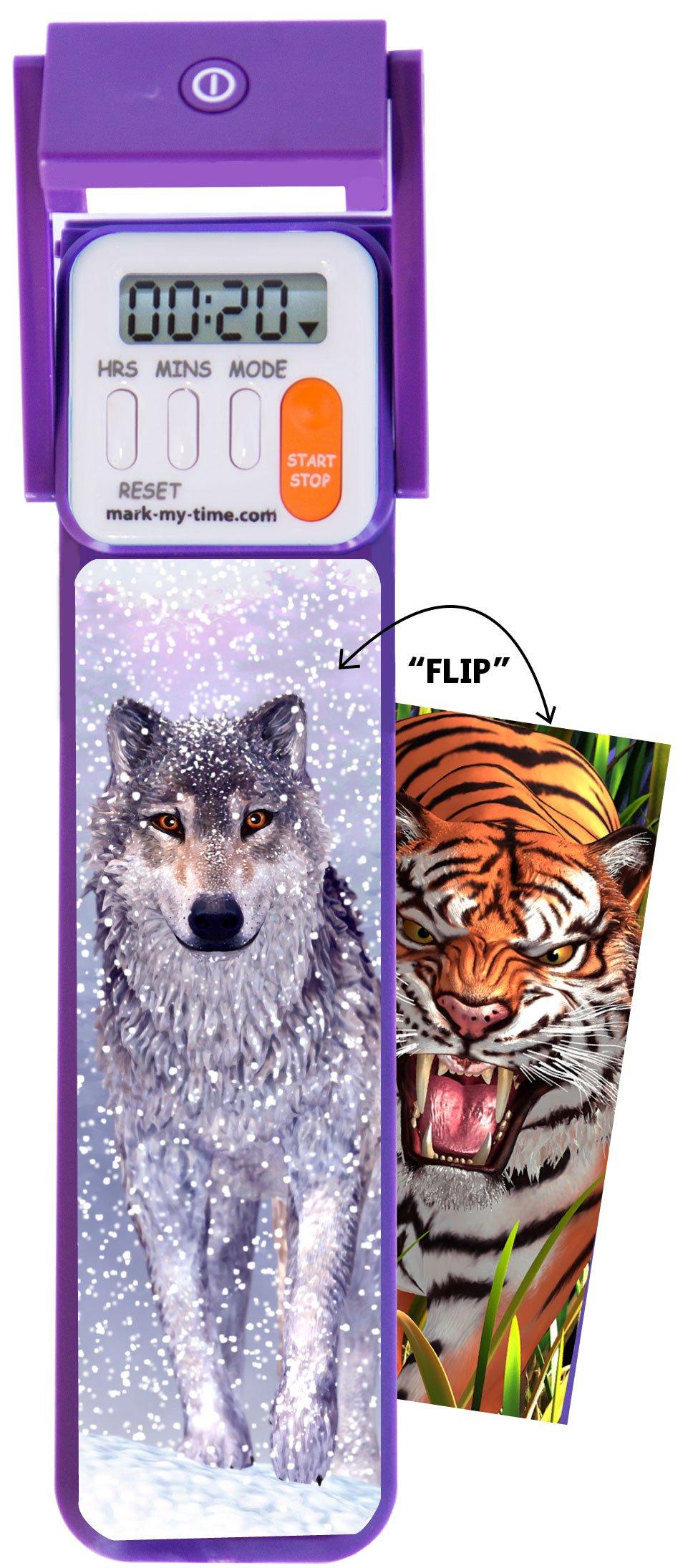 "Mark-My-Time 3D ""FLIP"" Snow Wolf/Tiger Digital LED Booklight Reading Timer"