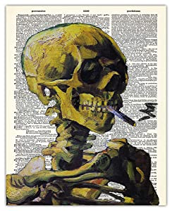 Van Gogh Smoking Skeleton Dictionary Wall Art Print: Unique Room Decor for Boys, Men, Girls & Women - (8x10) Unframed Picture - Great Gift Idea