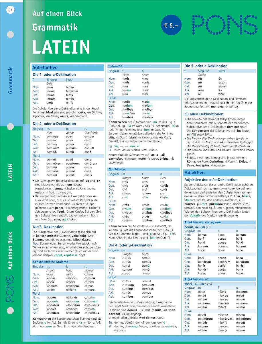 PONS Grammatik auf einen Blick Latein: kompakte Übersicht ...