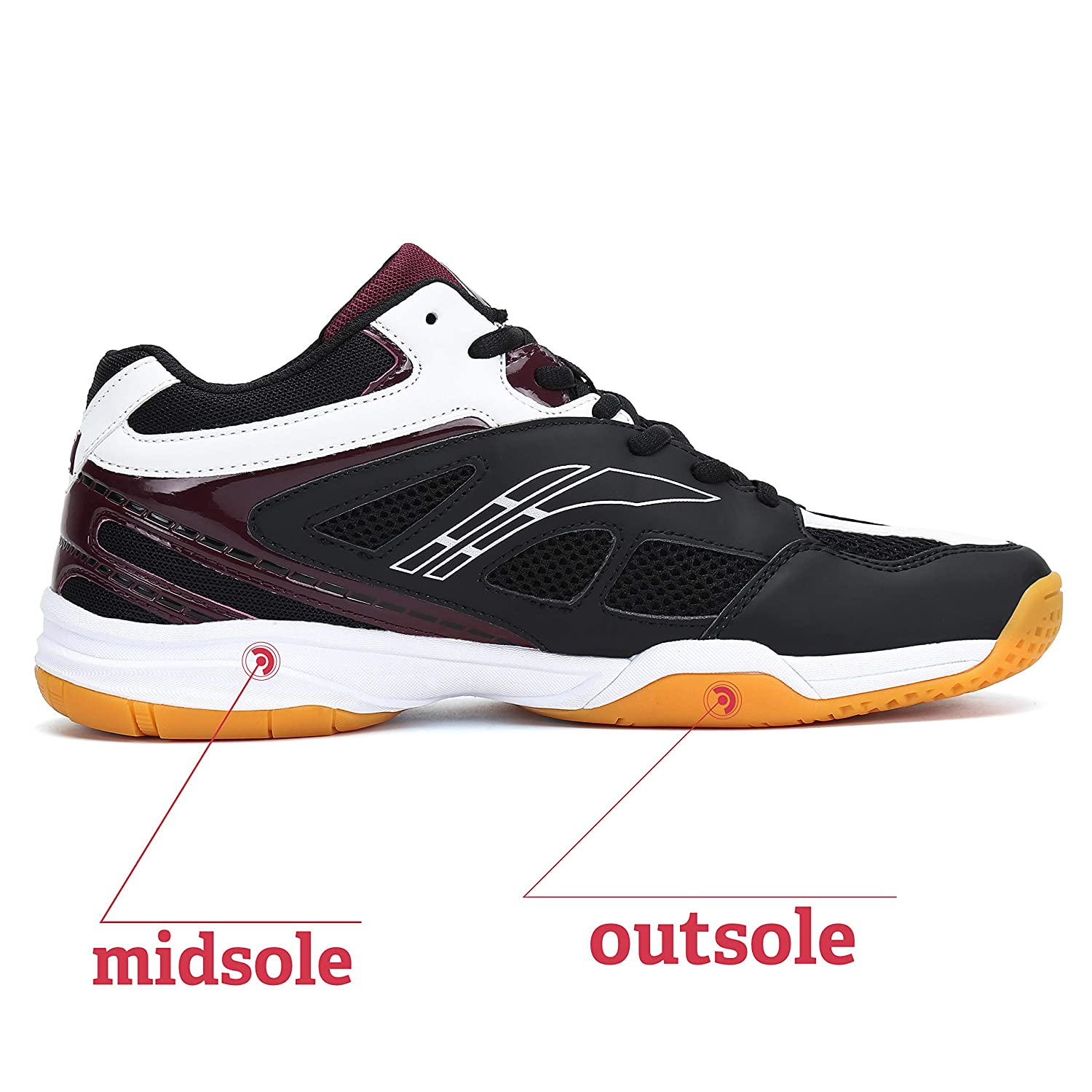 Fashiontown Athletic Mens Sneakers Badminton Shoes Non Slip Indoor Court Outdoor Safety Training Shoe White