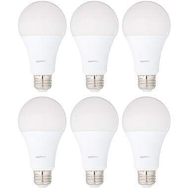 AmazonBasics 100 Watt Equivalent, Soft White, Non-Dimmable, A21 LED Light Bulb | 6-Pack