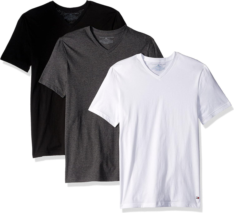 Tommy Hilfiger Men/'s Undershirts BLACK 3 Pack Cotton CREW V-NECK T-shirt LARGE