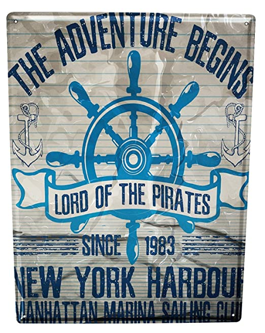 Cartel Letrero de Chapa Océanos Puerto de Nueva York: Amazon ...