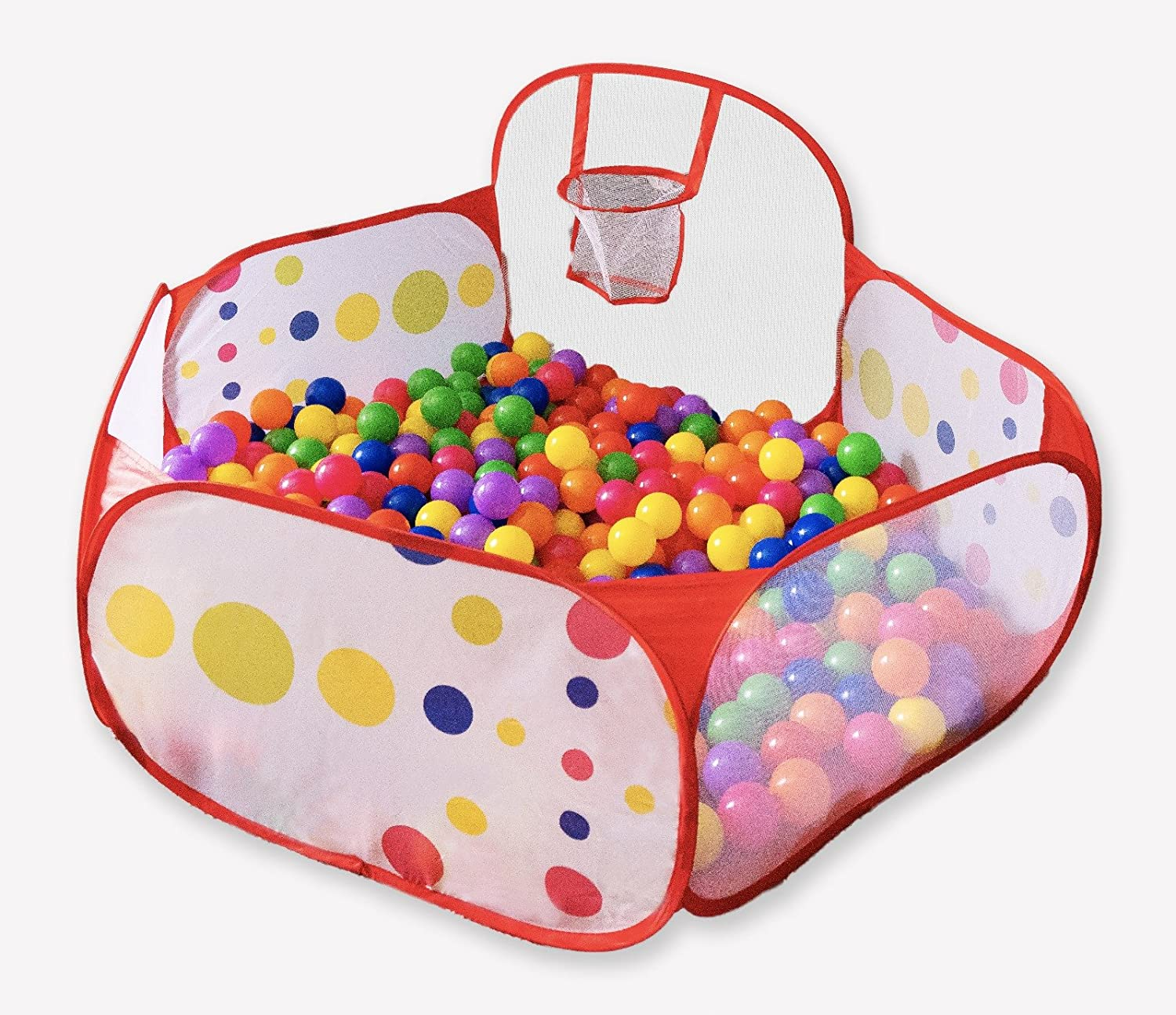 FoxPlay Basketball Ball Pit - Toddler Ball Pit Tent - Sensory Ball Pit with Basketball Hoop and Zippered Storage Bag - 4ft/120cm - Balls Not Included FoxPrint