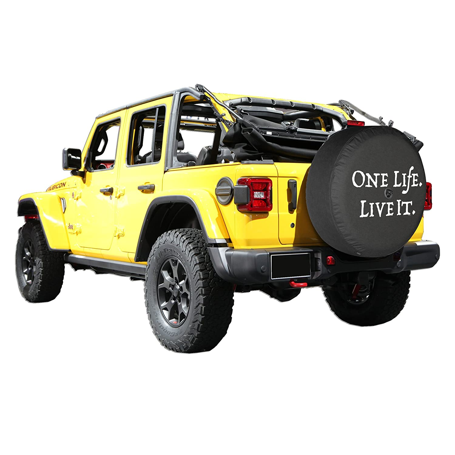 - One Life Live It Boomerang 33 Soft JL Tire Cover for use with 2018-2019 Jeep Wrangler Rubicon JL with Back-up Camera