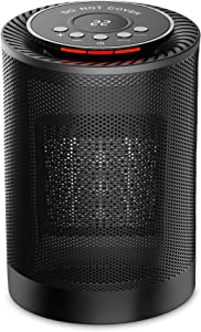 Ceramic Space Heater,Office Heater,1200W Electric Oscillating heater,Adjustable Thermostat,Tip-over Protection and Personal Space Heater for Home or Office