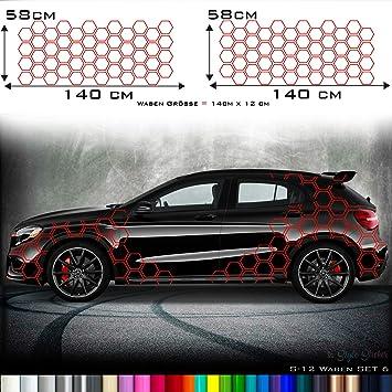Aufkleber Auto Seitenaufkleber Waben Rauten Hexa Style