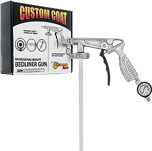 Custom Coat Professional Quality Bedliner Application Gun with Regulator - Fits 1 Liter U-POL Raptor or Custom Coat Bed Liner Bottles