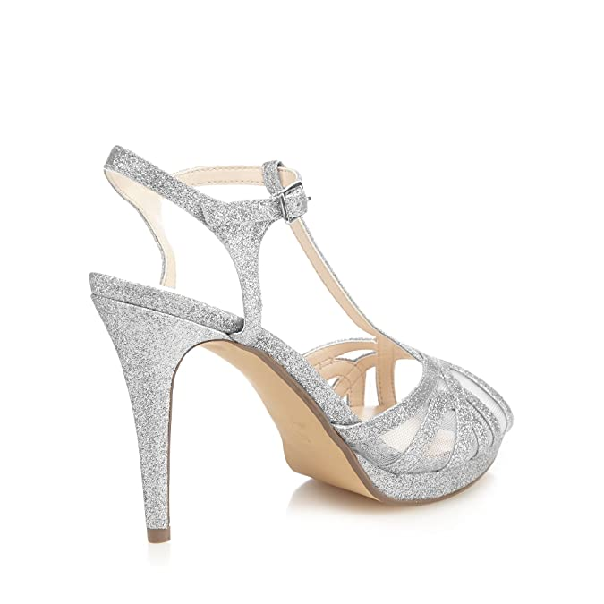 baa1b74e8 1 Jenny Packham Silver Glitter  Polly  High Stiletto Heel T-Bar Sandals   Amazon.co.uk  Shoes   Bags