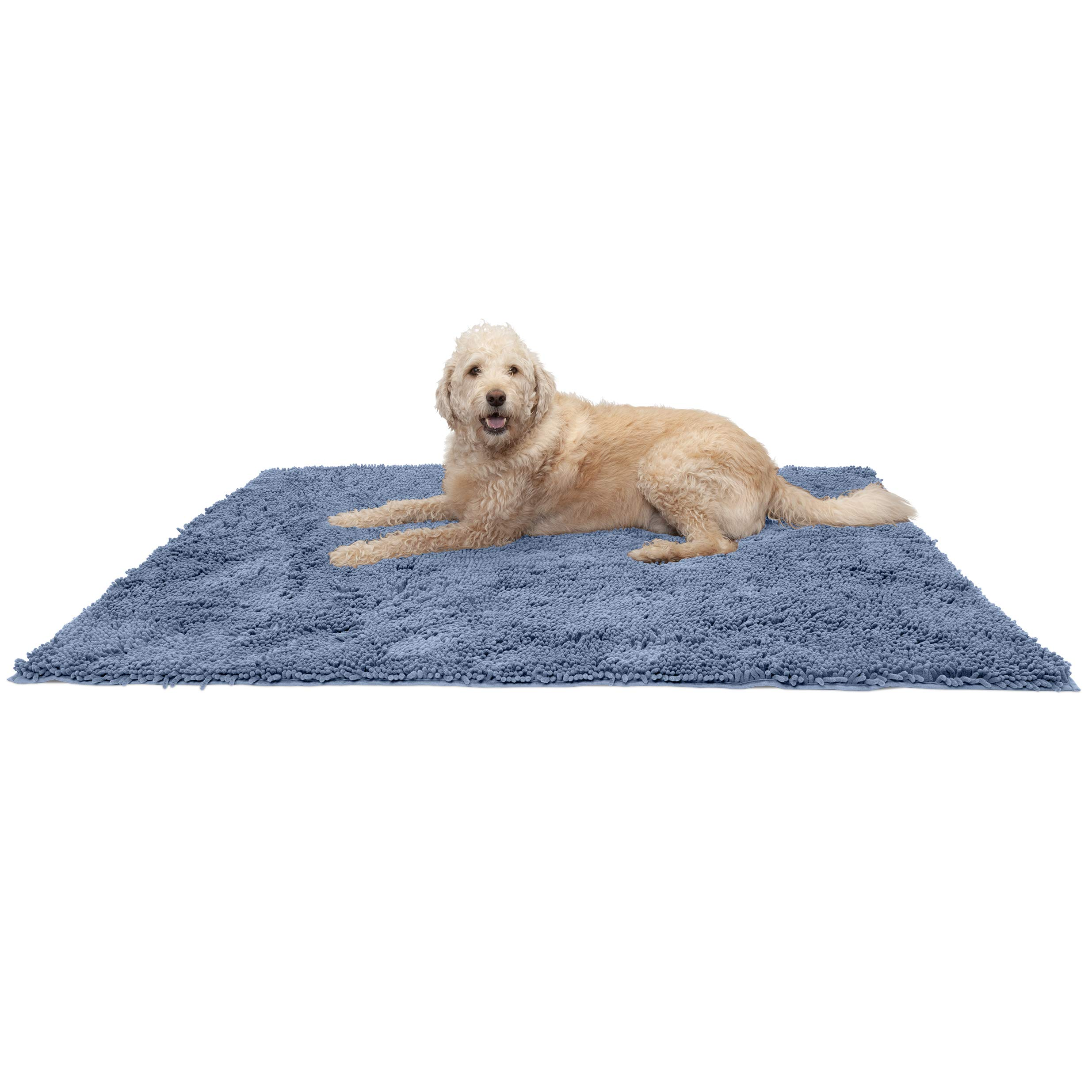 Furhaven Pet Dog Mat | Muddy Paws Absorbent Chenille Bath Towel & Shammy Rug for Dogs & Cats, Blue, Jumbo Plus