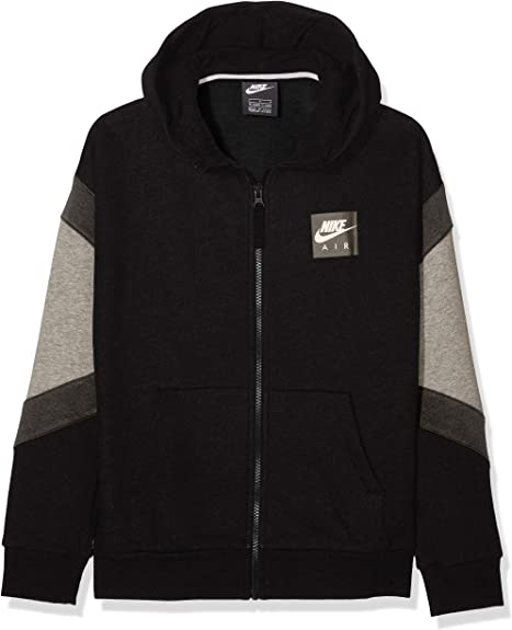 Details about Nike Children Sport Casual Hooded Jacket B NK Air Hoodie Fz Grey Black White