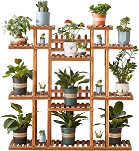 LawnBits Multi-Tier Plant Stand for Indoor & Outdoor,Tiered Plant Ladder,Wood Flower Rack Holder 17 Wood Plant Stand Potted Display Storage Shelves for Patio Garden Balcony Yard