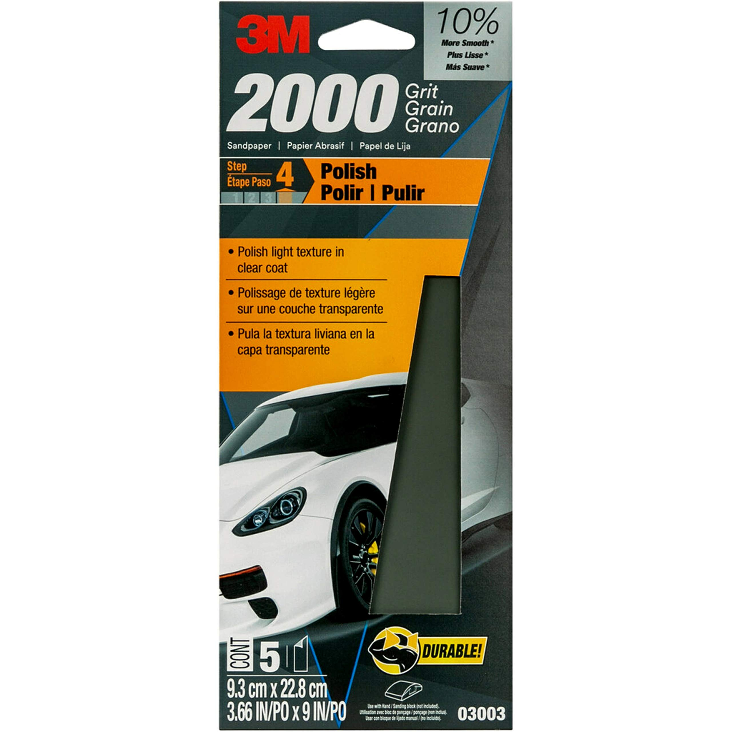5 Lijas 3M Auto 9.3cm x 23cm Grano 2000