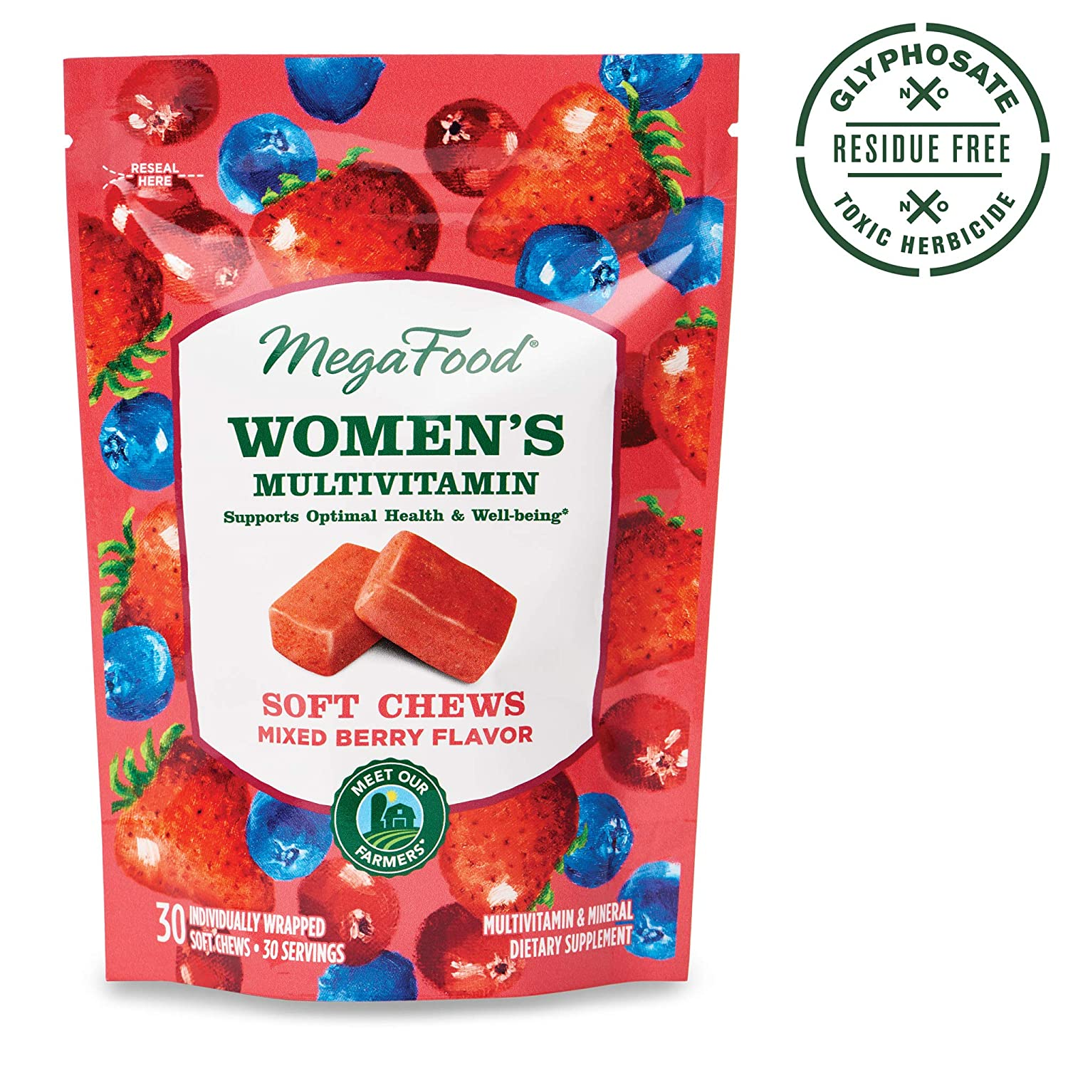 MegaFood, Women s Multivitamin Soft Chews, Daily Supplement, Supports Optimal Health and Well-Being, Gluten-Free, Vegetarian, Mixed Berry, 30 Chews 30 Servings