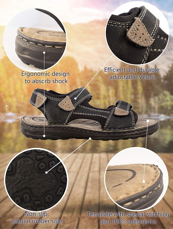Zerimar Herren Sandalen   Trekking Trekking Trekking Sandalen für Herren   Sandalen Mann Wandern   Herren Ledersandalen   Männer Sommer Sandalen  415e2f