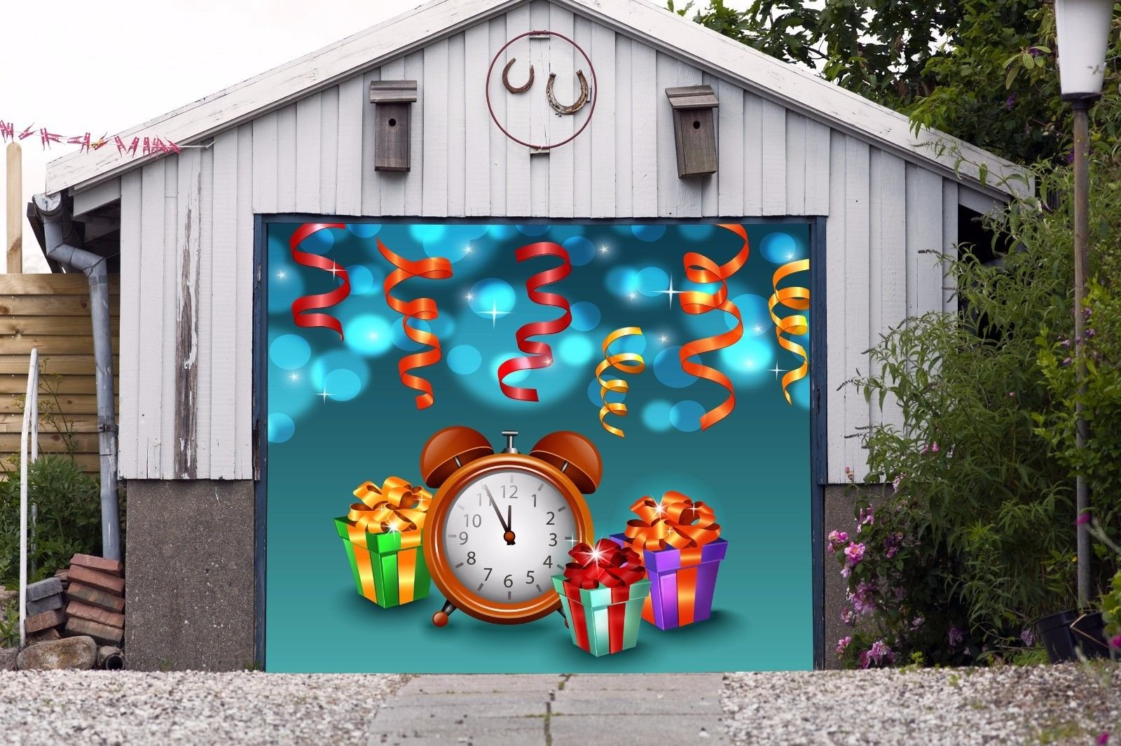 Christmas Clock 3D Effect Print Decor Banner SINGLE CAR GARAGE DOOR MURALS Covers Outdoor Holiday Home Decor Door Cover Billboard Full Color Decorations of House Garage Size 83 x 89 inches DAV78
